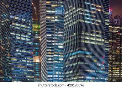 Singapore cityscape of the financial district, Asian modern glasses office building style, close up, detail , Singapore