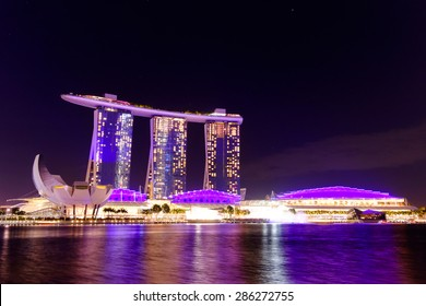 Singapore cityscape at night buildings of Marina Bay Sand , Singapore - 30 January 2015