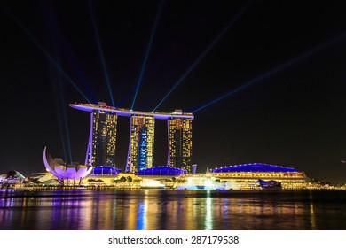 Singapore cityscape at night  with reflect , Singapore -17January 2015