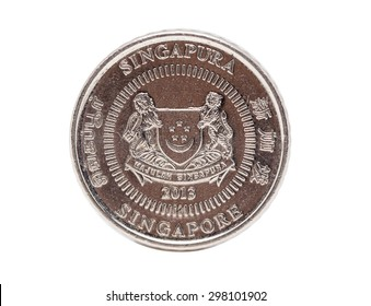 Singapore coin isolated on white background