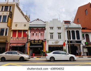 Singapore - Dec 14, 2015. Main street with old buildings in Chinatown, Singapore. Chinatown has had a historically concentrated ethnic Chinese population.