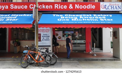 SINGAPORE - DEC 18 2018 : Hong Kong Soya Sauce Chicken Rice & Noodle in Chinatown, Singapore. It is the cheapest Michelin guide restaurant has been rated 1 stars.