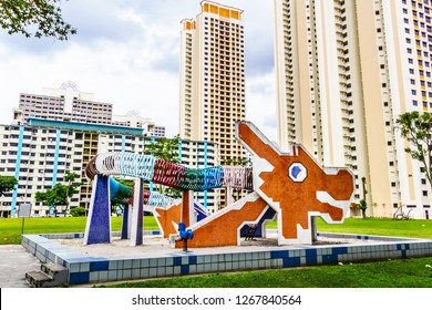 Singapore - Dec 18, 2018: Toa Payoh Dragon Playground, the dragon-shaped sand-based playground used to be a popular design for playgrounds in Ang Mo Kio and Toa Payoh.