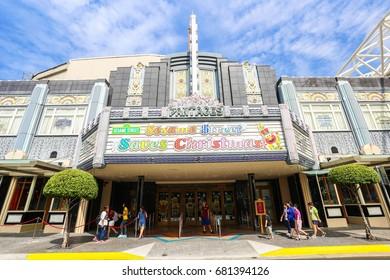 SINGAPORE - Dec 2014 UNIVERSAL STUDIOS SINGAPORE sign on December 05, 2014. Universal Studios Singapore is a theme park located within Resorts World Sentosa on Sentosa Island, Singapore