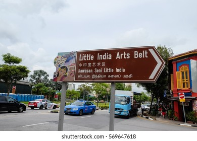 SINGAPORE, DEC 23, 2016; Board of Little India arts Belt at Little India town, Singapore