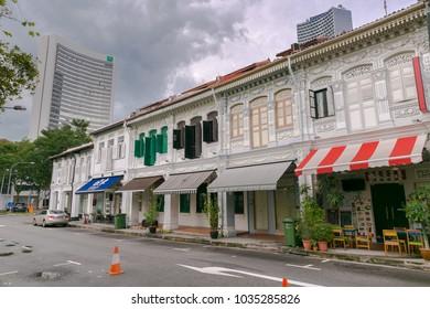 SINGAPORE - Dec 3,2016 : A beautiful urban regeneration of shophouses near Kampung Glam Malay Heritage District, Singapore