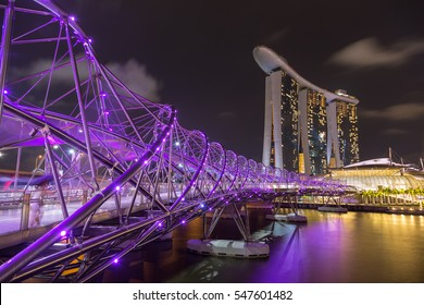 Singapore - December 1, 2016 : Helix Bridge, a  pedestrian bridge designed from form of the curved DNA structure.