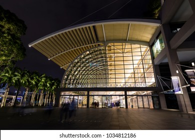 Singapore, December 10 2017: The Shoppes at Marina Bay Sands is a famous shopping center