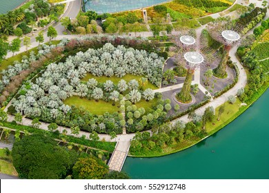 Singapore - December 12, 2016 : Aerial view of the botanical garden, Gardens by the Bay in Singapore