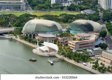 Singapore, Singapore - December 12, 2016 : Aerial view of Esplanade theatre and out stage at Marina Bay, Singapore.It is a modern building for musical,art gallery and concert.