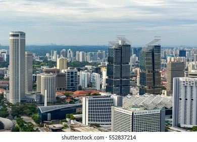 Singapore - December 12, 2016 : high view of city landscape building at Marina Bay from sky park of Marina Bay Sands, Singapore