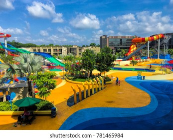 SINGAPORE - DECEMBER 16, 2017: Day view of the Wild Wild Wet, the largest water park in Singapore, located in Downtown East in Pasir Ris.