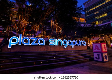 SINGAPORE - DECEMBER 17, 2018: Christmas Decoration at Plaza Singapura, Orchard Road, Singapore. The Plaza Singapura shopping mall is popular with families, teenagers and young adults.
