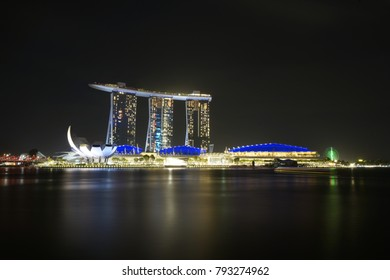 Singapore, December 18 2017: Marina Bay Sands by night, in Singapore December 18 2017