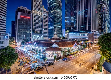 Singapore - December 2018: Lau Pa Sat also known as Telok Ayer Market is a popular food centre located in the heart of Singapore's business district (CBD).