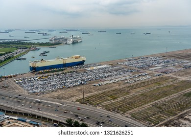 SINGAPORE - December, 2018: The Port of Singapore is the one of the busiest container terminal in the world.