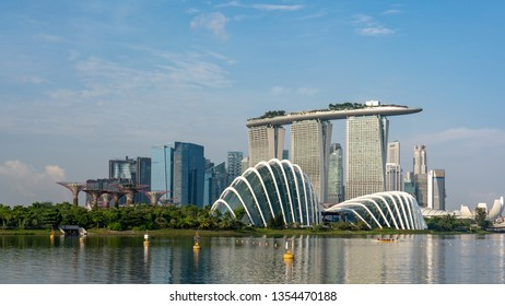 Singapore / Singapore - December, 2018: Skyline of Singapore. Singapore is a sovereign city-state and island country in Southeast Asia.
