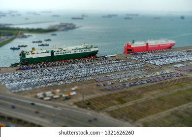 SINGAPORE - December, 2018: Tilt-shift image of the Port of Singapore is the one of the busiest container terminal in the world.