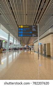 Singapore, Singapore - December 21, 2017 : Departure gate at Changi Airport terminal 4, Singapore