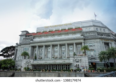 SINGAPORE - DECEMBER 21, 2018: Day view of The Fullerton Hotel in Singapore. It is a five-star luxury hotel from 2014. The Fullerton Building was opened on 27 June 1928.