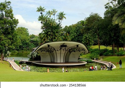 Singapore - December 22, 2007:  The Shaw Foundation Symphony Stage surrounded by a moat filled with lily pads is used for outdoor concerts at the Singapore Botanic Gardens