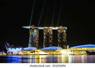 SINGAPORE, December 22 2016 : The Marina Bay Sands Resort Hotel with light show