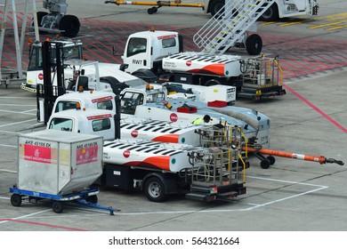 SINGAPORE - DECEMBER 23: Ground handling equipment at Changi Airport on December 23, 2016 in Singapore