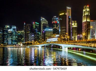 Singapore - December 25, 2016: Singapore Cityscape Financial building Urban Dusk