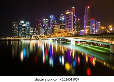 Singapore - December 27, 2017 : Singapore downtown district at midnight.