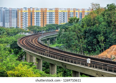 SINGAPORE  - DECEMBER 29, 2018: Aria view of Singapore mass rapid train (MRT) track. The MRT has 106 stations and is the second-oldest metro system in Southeast Asia.