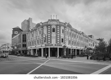 Singapore - December 3, 2019: Exterior view of Vanguard Building in Singapore. It is one of the rare buildings in Singapore to possess an Edwardian architecture style. Black and white photo.