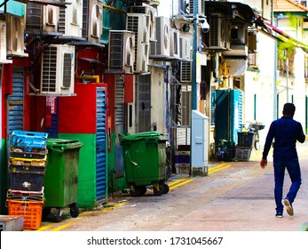 SINGAPORE - DECEMBER 31, 2019: Street scene from Little India district in Singapore