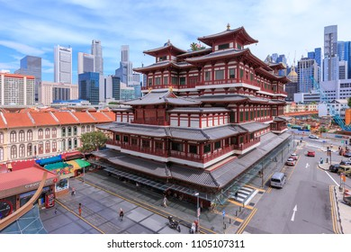 Singapore - December 4, 2016 : Buddha Tooth Relic Temple, located in China Town. The temple is build with Tang Dynasty style.