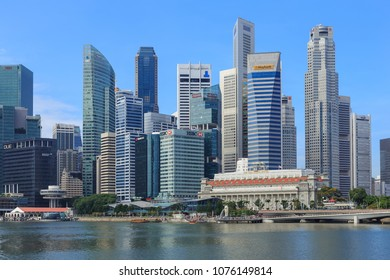 Singapore - December 4, 2016 : Marina Bay and Financial district with skyscrapers office business building.
