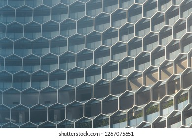 Singapore - December 4, 2018: Honeycomb hexagonal building exterior pattern.