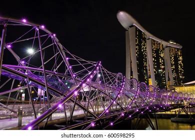 Singapore - December 5, 2016: Singapore skyline cityscape during twilight - night period at Marina Bay
