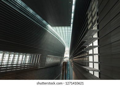 Singapore - December 5, 2018: Interior view of Stadium MRT station.