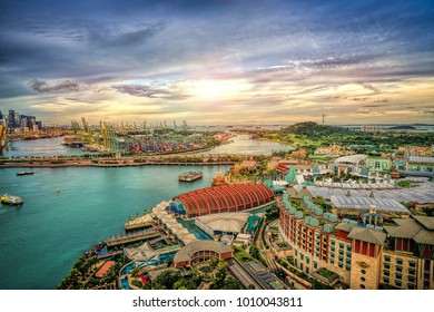 SINGAPORE - DECEMBER 8, 2017: Day view of Sentosa island in Sentosa, Singapore. Sentosa is a popular island resort in Singapore with more than 5 million visitors per year.