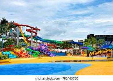 SINGAPORE - DECEMBER 8, 2017: Day view of the Wild Wild Wet, the largest water park in Singapore, located in Downtown East in Pasir Ris.