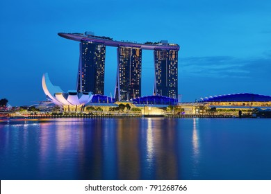 SINGAPORE - December 9, 2017: The new Marina Bay Sands resort in Singapore at dusk