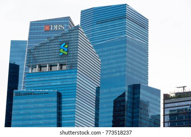 Singapore - December 9, 2017 : A view of the DBS and Standard Chartered Buildings, Singapore
