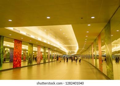Singapore Downtown, Singapore - February 19, 2016 : Inside Bayfront MRT station of the Singapore's MRT (Mass Rapid Transit) network