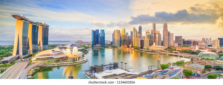 Singapore downtown skyline bay area at sunset
