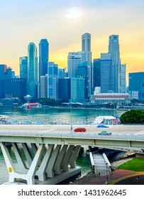 Singapore Downtown view with and overpass at sunset