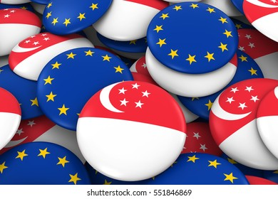 Singapore and Europe Badges Background - Pile of Singaporean and European Flag Buttons 3D Illustration
