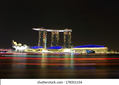 SINGAPORE - FEB 01: Marina Bay Sands, World's most expensive standalone casino property in Singapore at S$8 billion on February 01, 2014