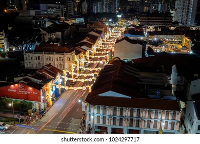 Singapore - Feb 03 2018: Chinatown annual street light-up. Lanterns depicting Chinese New Year greetings such as, prosperity to nation, health, happy new year, good fortune.