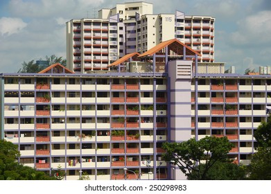 Singapore, Singapore - Feb 05, 2015 : New and old Singapore public housing (HDB) in the same estate taken in the day on Feb 05, 2015