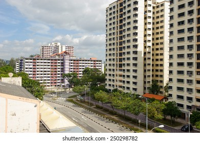 Singapore, Singapore - Feb 05 : New and old Singapore public housing (HDB) in the same estate taken in the day on Feb 05, 2015