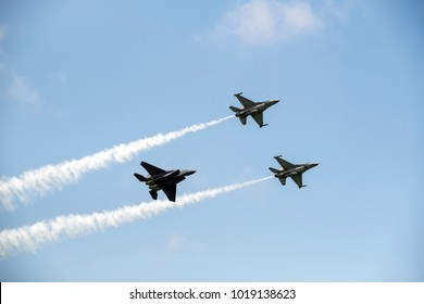 Singapore - Feb 06 2018: Acrobatic flypast at Singapore Airshow 2018, formerly known as Changi International Airshow, is a biennial aerospace event. Asia's Largest Aerospace and Defence event.